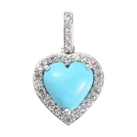 LIVE from Tucson- Sleeping Beauty Turquoise (Hrt 10mm), Natural Cambodian Zircon Pendant in Platinum