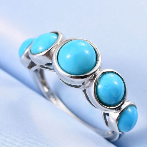 Arizona Sleeping Beauty Turquoise (Rnd 1.25 Ct) 5 Stone Ring in Platinum Overlay Sterling Silver 3.750 Ct.