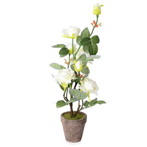 Home Decor Artificial White Rose with Pot  (Size:11.5x11.5x63cm)