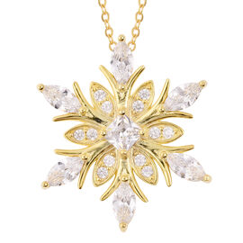 ELANZA Simulated Diamond Snowflake Pendant with Chain in Gold Plated Silver 18 Inch