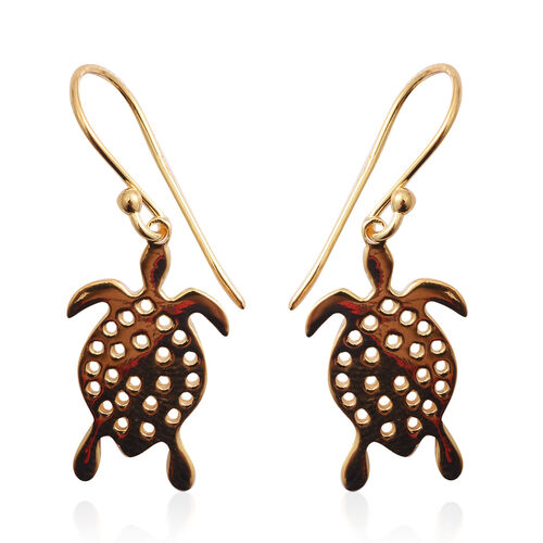 Yellow Gold Overlay Sterling Silver Turtle Hook Earrings
