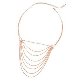 Lucy Q Multi Strand Necklace in Rose Gold Plated Platinum Sterling Silver in 19.91 Grams