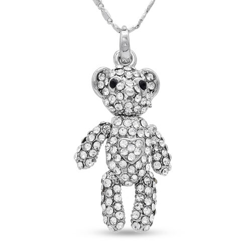 THOMAS CALVI White and Black Austrian Crystal Teddy Bear Pendant With Chain (Size 18 with 2 inch Ext