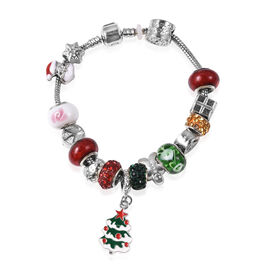 Green and White Colour Murano Glass and Multicolour Austrian Crystal Enamelled Bracelet (Size 7.5) w