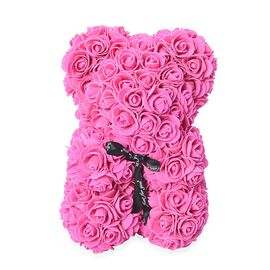 Seasonal Gift - Lovely Rose  Flower Bear with Bow Tie - Pink