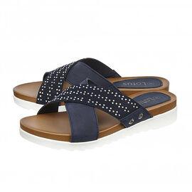 Lotus Navy Sharon Flat Mule Sandals