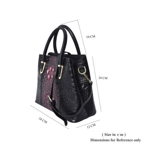 100% Genuine Leather Croc Embossed Tote Bag (Size 29x12x22.5 Cm)  - Black and Red