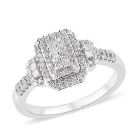 14K White Gold SGL Certified Diamond (Rnd and Sqr) (I1-I2/G-H) Ring 0.50 Ct.