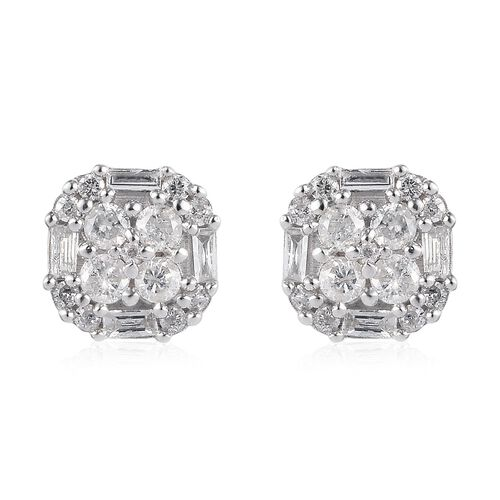 9K W Gold Certified Natural Diamond (I3/G-H) Stud Earrings 0.50 Ct.