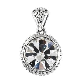 Hand Made-Crystal from Swarovski - White Crystal (Rnd) Pendant in Sterling Silver.