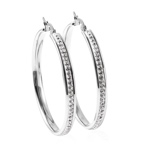 Set of 2 - Lapis Lazuli and White Crystal Hoop Earrings (with Clasp) in Stainless Steel