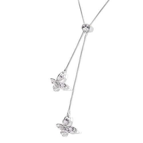 Simulated Diamond (Rnd) Necklace (Size 24) in Silver Plated