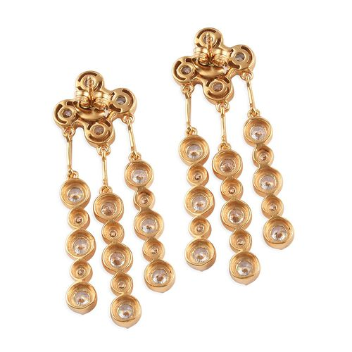 J Francis - 14K Gold Overlay Sterling Silver Chandelier Earrings Made with SWAROVSKI ZIRCONIA 11.68 Ct, Silver wt 9.20 Gms