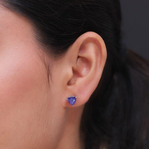 RHAPSODY 950 Platinum AAAA Tanzanite (Trl) Stud Earrings (with Screw Back) 2.68 Ct, Platinum Wt 2.80 Gms