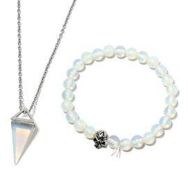Opalite Beads Skull Stretchable Bracelet (Size 7.5) and Pyramid Pendant with Chain (Size 20) in Black Plated 74.000  Ct.