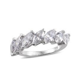 J Francis - Platinum Overlay Sterling Silver (Mrq) Ring Made With SWAROVSKI ZIRCONIA