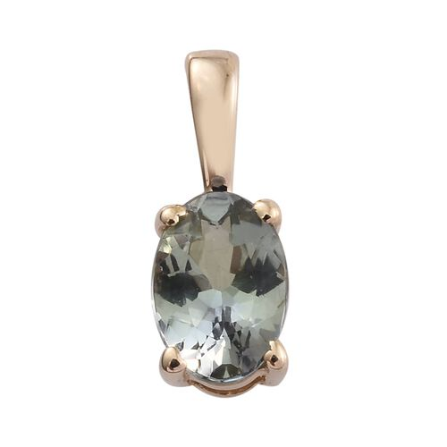 9K Yellow Gold 0.50 Carat AA Green Tanzanite Oval Solitaire Pendant