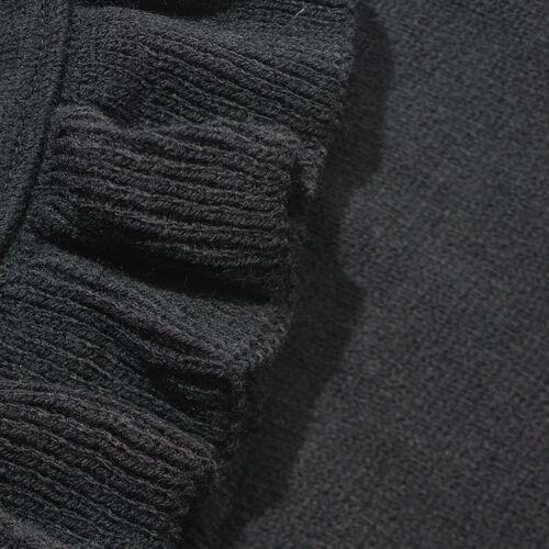 Close Out Italian Designer Inspired Black Colour Ruana (Size 100x80 Cm)