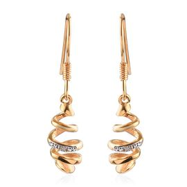 Diamond Spiral Design Dangling Earrings in Yellow Gold Overlay Sterling Silver