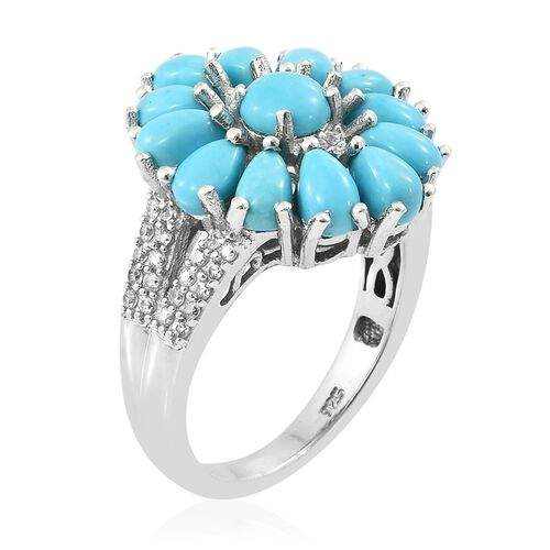 Arizona Sleeping Beauty Turquoise (Rnd), Natural Cambodian Zircon Flower Ring in Platinum Overlay Sterling Silver 3.750 Ct. Silver wt 5.25 Gms.
