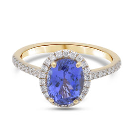 ILIANA 18K Yellow Gold AAA Tanzanite and Diamond (SI/G-H) Ring 2.29 Ct, Gold wt. 3.28 Gms