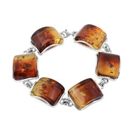 Baltic Amber Bracelet (Size 8.25) in Sterling Silver