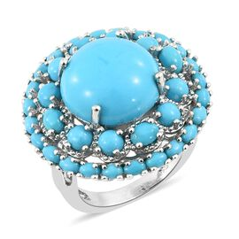 Arizona Sleeping Beauty Turquoise (Ovl and Rnd) Ring in Platinum Overlay Sterling Silver 10.750 Ct,