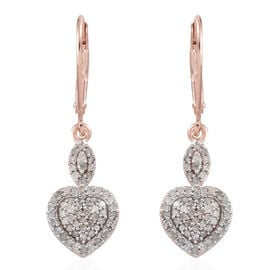 Diamond (Rnd) Lever Back Earrings in Rose Gold Overlay Sterling Silver 0.400 Ct