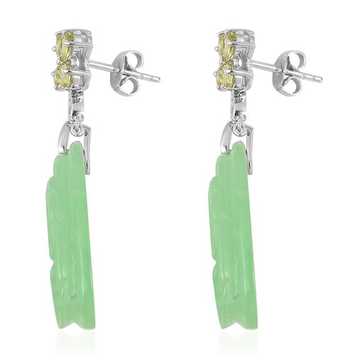 Carved Green Jade, Hebei Peridot and Natural White Cambodian Zircon Earrings (with Push Back) in Rhodium Overlay Sterling Silver 44.575 Ct.