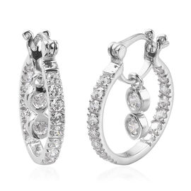 J Francis - Platinum Overlay Sterling Silver Earrings (with Clasp) Made with SWAROVSKI ZIRCONIA 2.50