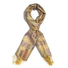 SILK MARK - 100% Superfine Silk Golden, Purple and Multi Colour Paisley and Leaves Pattern Jacquard Jamawar Scarf with Fringes (Size 180x70 Cm) (Weight 125-140 Grams)