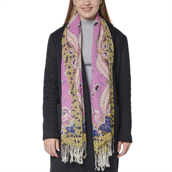 100% Wool Floral and Polka Dot Print Scarf (66x175+9cm) - Pink