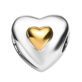 Charmes De Memoire Platinum and Yellow Gold Overlay Sterling Silver Heart Bead Charm, Silver wt 3.25