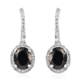 5.90 Ct Elite Shungite and Cambodian Zircon Halo Drop Earring in Platinum Plated Silver