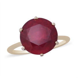9K Yellow Gold AA Extremely Rare African Ruby (FF) Ring 9.25 Ct