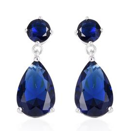 ELANZA Simulated Blue Sapphire (Pear and Rnd) Earrings (with Push Back) in Rhodium Overlay Sterling Silver