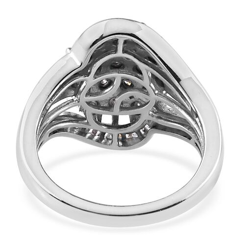 Close Out Deal- Diamond Ring in Platinum Overlay Sterling Silver Ring - 0.50Ct