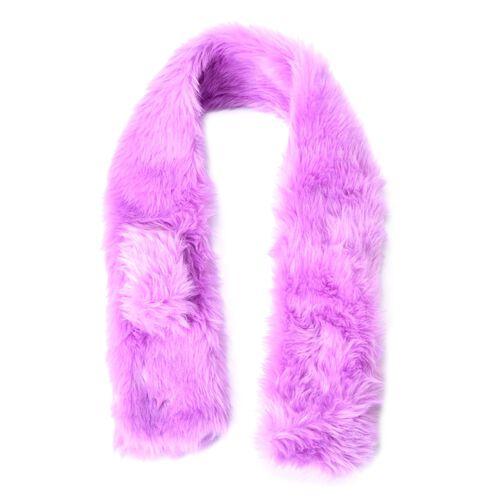 Purple Colour Faux Fur Scarf (Size 85x9 Cm), Cap (Size 29x13 Cm) and Pom Pom Key Chain (Size 10 Cm)