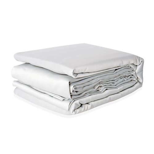 King Size Set of 4- French Grey Colour Matt Satin Flat Sheet (Size 275x265 Cm), Fitted Sheet (Size 200x150x30 Cm) and 2 Pillow Cases (75x50 Cm)
