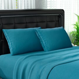 Serenity Night 4 Piece Set - Solid Microfibre 1 Flat Sheet (230x265cm), 1 Fitted Sheet (140x190+30cm
