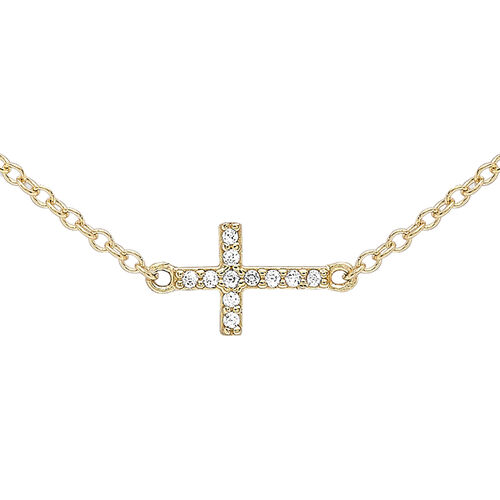 9K Yellow Gold Cubic Zirconia Cross Necklace (Size 17 with 1 inch Extender)
