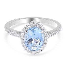 ILIANA 18K White Gold AAAA Santa Maria Aquamarine (1.75 Cts) and Diamond (0.50 Cts SI G-H)  Ring 2.2