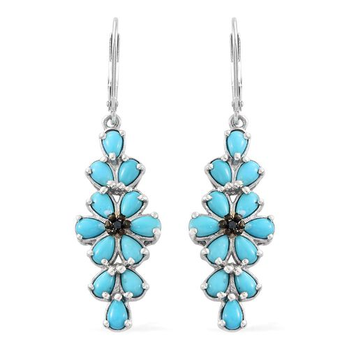 Arizona Sleeping Beauty Turquoise (Pear), Blue Diamond Floral Lever Back Earrings in Platinum Overlay Sterling Silver 4.500 Ct.