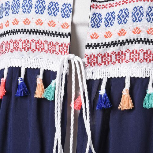 Navy, Orange, Red and Multi Colour Embroidered Ethnic Pattern Vest (Size 110x45 Cm)