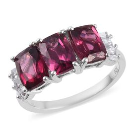 Rhodolite Garnet (Cush), Natural Cambodian Zircon Ring in Platinum Overlay Sterling Silver 3.75 Ct.