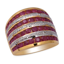 Burmese Ruby and Natural Cambodian Zircon Ring in Two Tone Overlay Sterling Silver 3.85 Ct, Silver w