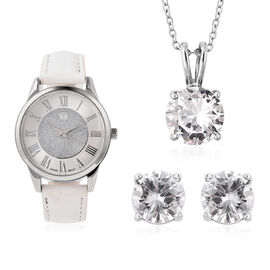 3 Piece Set - STRADA Japanese Movement Water Resistant Watch with White Strap, Simulated Diamond Stu