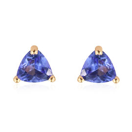 Tanzanite 0.75 Ct Silver Solitaire Stud Earrings (with Push Back) in Gold Overlay
