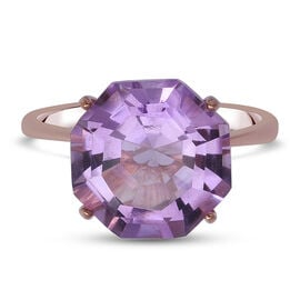 Rose De France Amethyst Solitaire Ring in Rose Gold Overlay Sterling Silver 6.65 Ct.