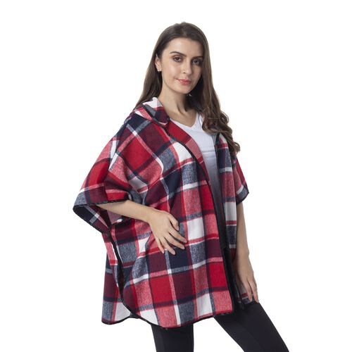 Red Wine, Navy Blue and White Colour Hat Design Plaid Cape (Size 73.5x98 Cm)